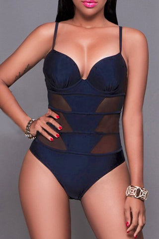 Modishshe Sexy Mesh Panel One-piece Swimwear