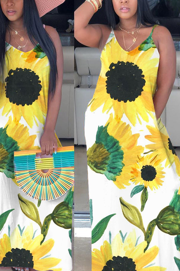 Bohemia Sunflower Print Suspenders Maxi Dress