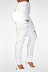 Modishshe High Wasit White Destroyed Skinny Jeans