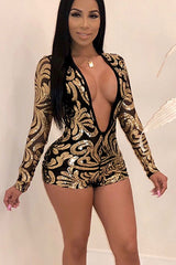 Modishshe Sexy Deep V-neck Print Sequin Jumpsuits
