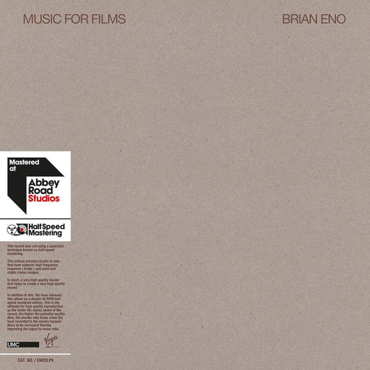 Brian Eno - Music for Films 1/2 Speed Ltd Double Vinyl LP New 2018