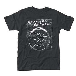 AMERICAN AUTHORS DRUMS MENS XL BLACK T SHIRT NEW OFFICIAL