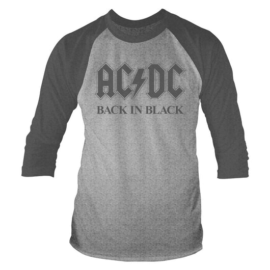 AC/DC Back In Black MENS Grey LARGE Baseball T-Shirt NEW