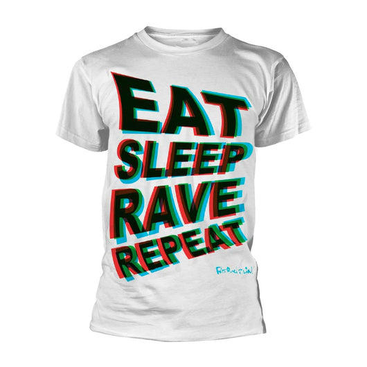 FATBOY SLIM Eat Sleep Rave Repeat MENS White SMALL T-Shirt NEW