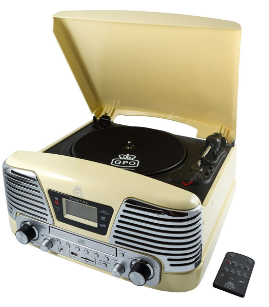 GPO MEMPHIS RETRO RECORD PLAYER WITH CD PLAYER FM RADIO & MP3 PLAYER NEW CREAM