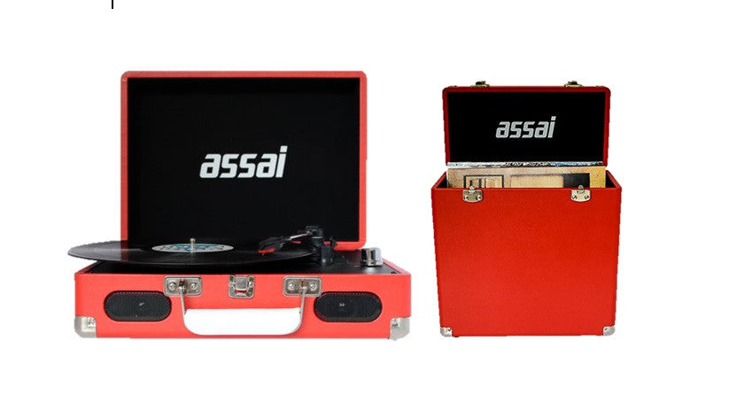 ASSAI Red Record Vinyl Player & Vinyl Carry Case Turntable Bundle