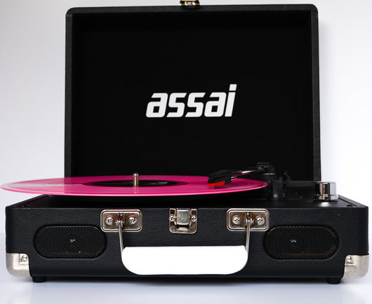 ASSAI Record Player Retro Vinyl BLACK Suitcase Turntable