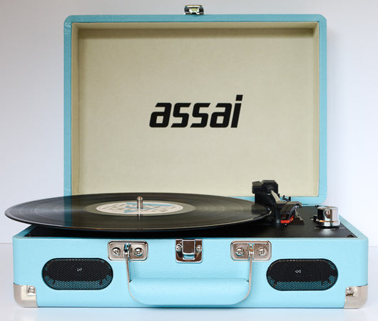 ASSAI Retro Sky Blue Vinyl Record Player LP Vinyl to MP3 CONVERTER Turntable