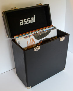ASSAI VINYL LP RECORD BLACK STORAGE CARRY CASE BOX WITH HANDLE 25 / 40 12