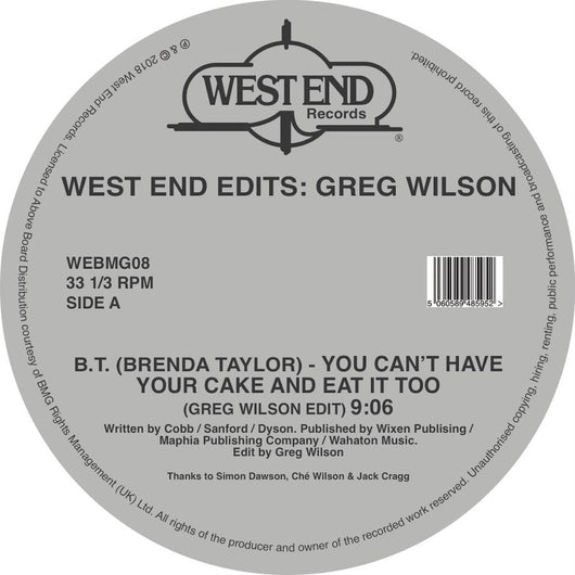 Various Artists West End Edits Greg Wilson 12
