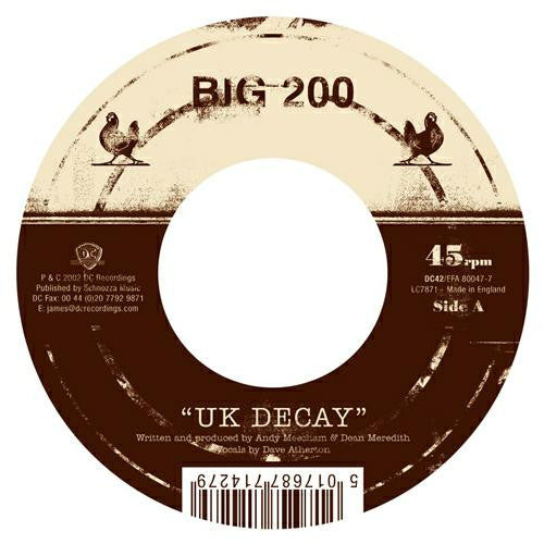Big Two Hundred - UK Decoy Garage Punk Disco Music Single 7'' Vinyl Brand New