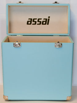 ASSAI VINYL LP RECORD SKY BLUE STORAGE CARRY CASE BOX WITH HANDLE 12