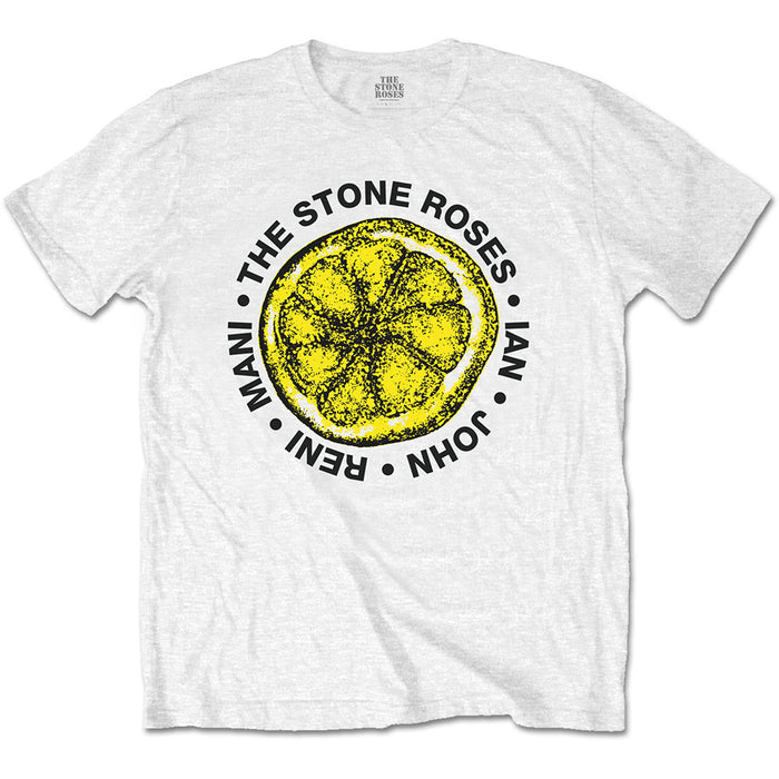 The Stone Roses Lemon Logo with Names MENS White T-Shirt Large New Official