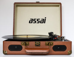 ASSAI Retro Style Tan Brown Suitcase Record Player Vinyl Turntable