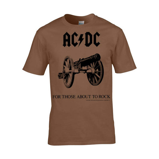 AC/DC For Those About To Rock T-Shirt Brown Small Mens New