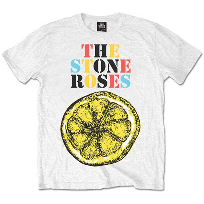 Stone Roses Logo Lemon Multicolour White Large Unisex T-Shirt