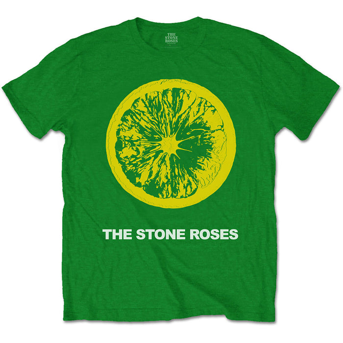 The Stone Roses Lemon & Logo MENS Green T-Shirt LARGE New Official