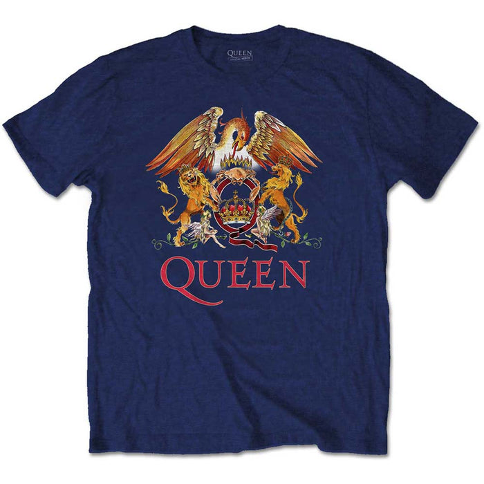 Queen Classic Crest Navy Large Unisex T-Shirt