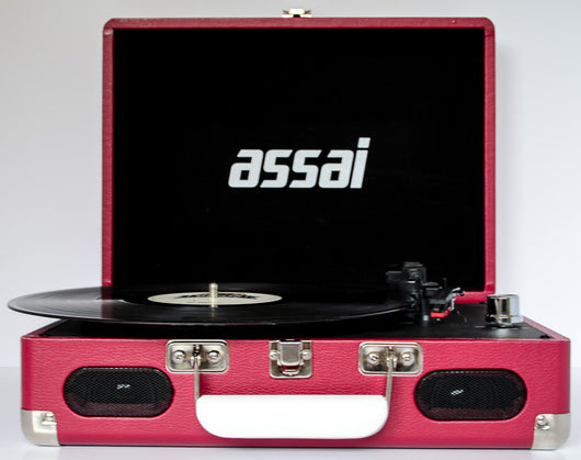 ASSAI Classic Red Record Player Retro Vinyl Turntable