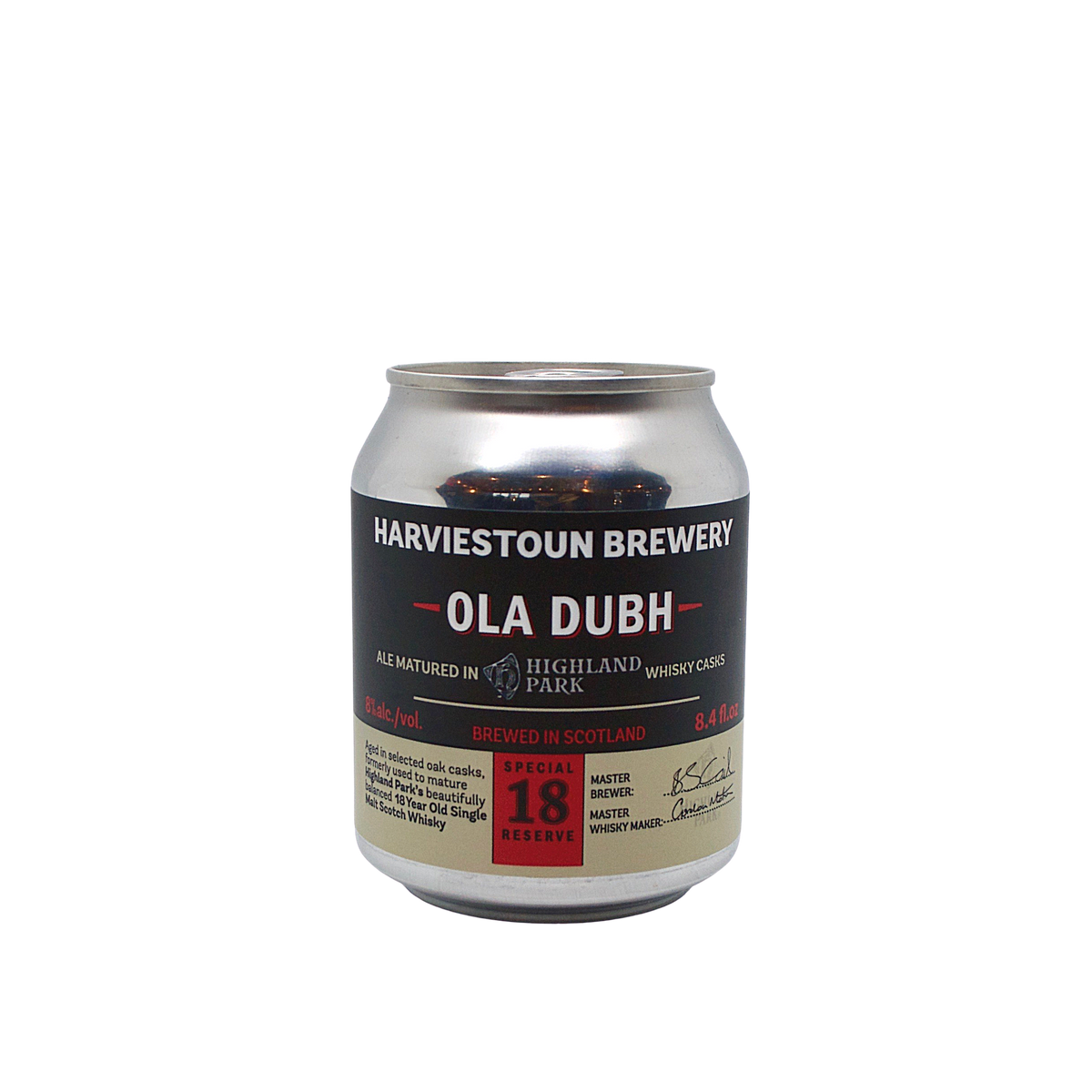 Harviestoun Ola Dubh 18 Year Old 8oz Can (Dark Ale Aged in Highland Park Whisky Casks)
