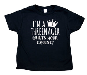 I'm A Threenager What's Your Excuse Toddler Shirt Three Girls Third Birthday Party Clothes Kids Clothing