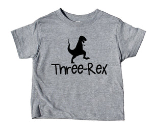Three Rex Toddler Shirt T-Rex Dinosaur Kids Party Boy Clothes Kids Birthday Clothing