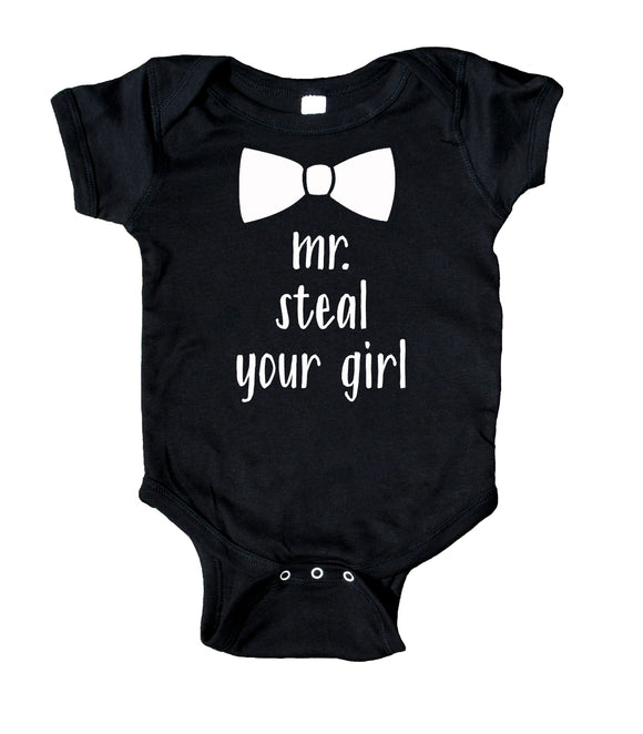 Mr Steal Your Girl Baby Bodysuit Funny Cute Boy Newborn Gift Baby Shower Infant Clothing