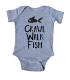Crawl, Walk, Fish Baby Boy Girl Onesie Grey