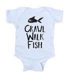 Crawl, Walk, Fish Baby Boy Girl Onesie White