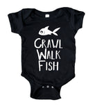 Crawl, Walk, Fish Baby Boy Girl Onesie Black