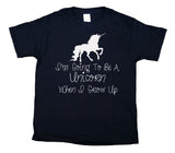 I'm Going To Be A Unicorn When I Grow Up Youth Shirt Cute Girls Kids Clothing T-shirt