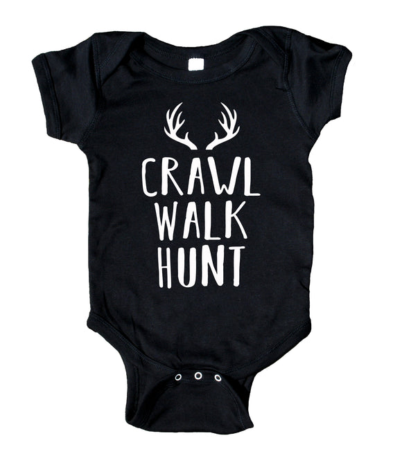 Crawl, Walk, Hunt, Antlers, Baby Boy Girl Onesie Black
