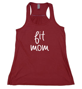 Fit Mom Tank Top Yoga Gym Running Parenthood Mom Life Flowy Racer Back Shirt