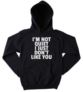 Funny Attitude Sweatshirt I'm Not Quiet I Just Don't Like You Slogan Sarcastic Clothing Anti Social Sarcasm Tumblr Hoodie