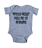 Pretty Please Pass Me To Grandma Baby Bodysuit Cute Newborn Girl Boy Gift Clothing