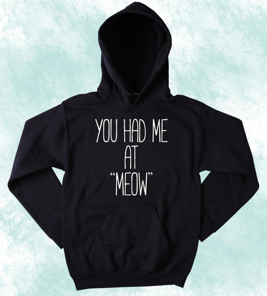 "Funny kitty Hoodie You Had Me At ""Meow"" Slogan Cat Lover Tumblr Sweatshirt"