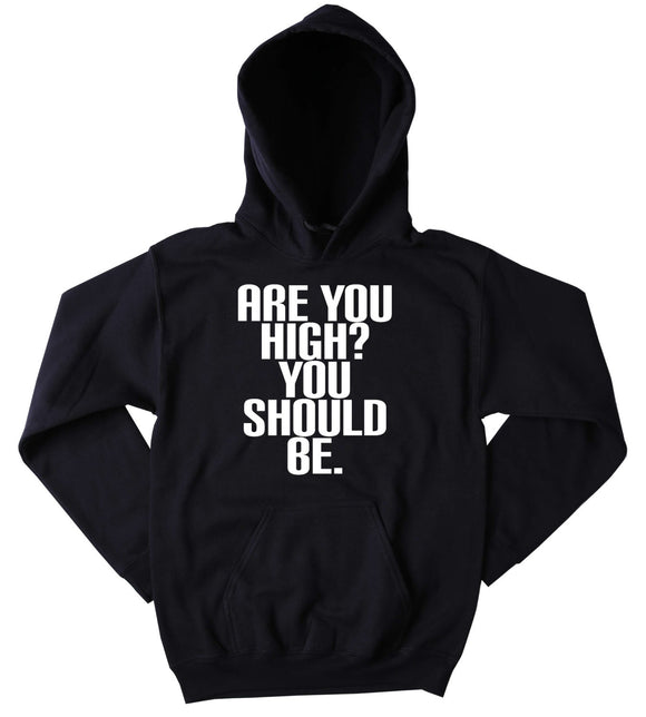 High Hoodie Are You High? You Should Be. Slogan Funny Weed Marijuana Blazing Dope Cannabis Tumblr Sweatshirt