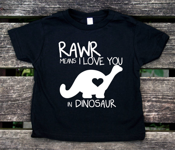 Rawr Means I Love You In Dinosaur Toddler Shirt Cute Dino Boy Girl Kids Birthday Clothing