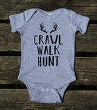 Crawl Walk Hunt Baby Onesie Funny Hunting Family Newborn Infant Kids Girl Boy Baby Shower Gift Clothing