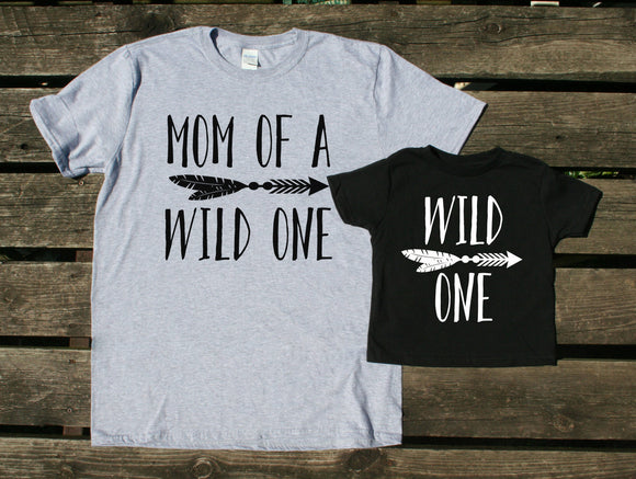 Mom and Toddler Shirts Mom Of A Wild One Wild One Tees Family Matching Outfits Boy Girl Kids Clothing