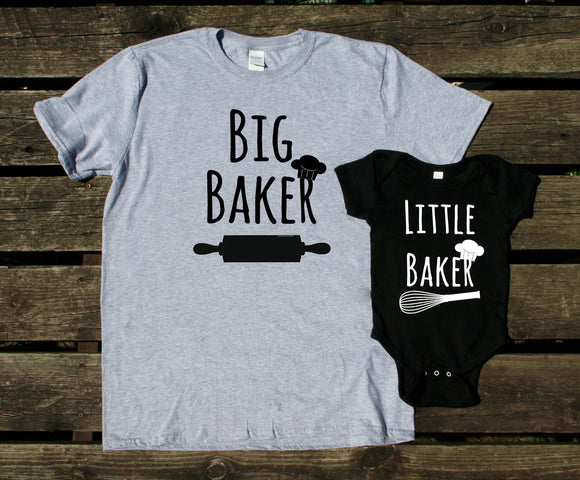Mom and Baby Shirts Big Baker Little Baker Matching Outfits Baking Cookies Boy Girl Kids Clothing