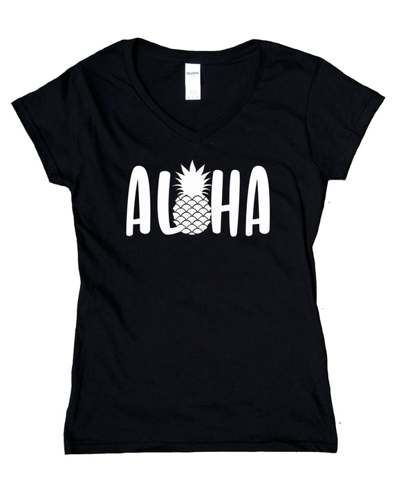Aloha Hawaii Shirt Pineapple Hawaiian Vacation Beach V-Neck T-Shirt