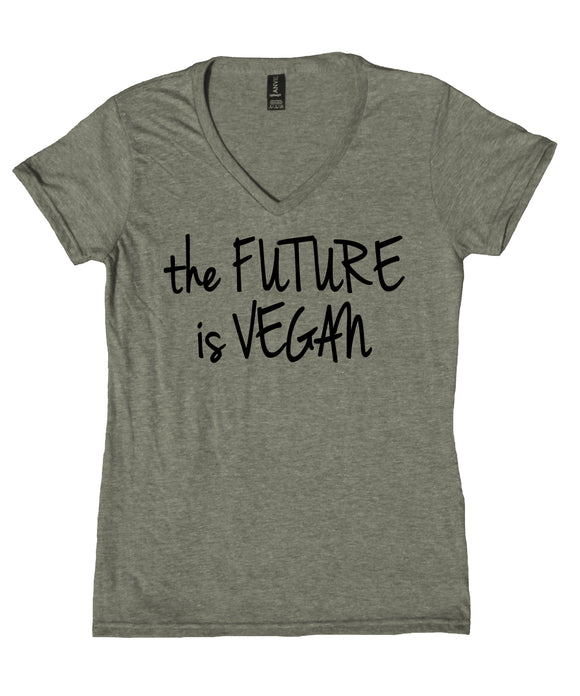 The Future Is Vegan Shirt Veganism Plant Based Activist V-Neck T-Shirt