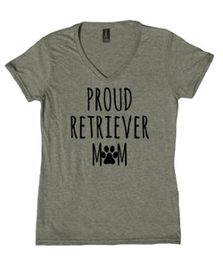 Proud Retriever Mom Shirt Golden Labrador Retriever Dog Breed Puppy V-Neck T-Shirt