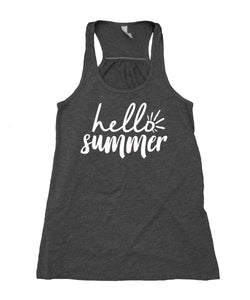 Hello Summer Tank Top Vacation Sun Beach Hot Weather Flowy Racerback Tank