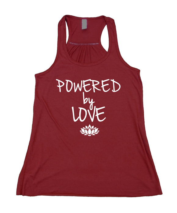 Powered By Love Tank Top Yoga Lotus Hippie Vegetarian Vegan Flowy Racerback Tank