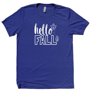 Hello Fall Shirt Leaves Pumpkin Spice October Autumn Thanksgiving T-shirt