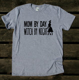 Mom By Day Witch By Night Shirt Halloween Women Costume Party Mama T-shirt