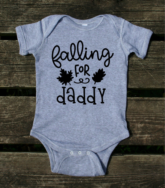 Falling For Daddy Baby Onesie Fall Leaves Autumn Newborn Girl Boy Infant Clothing