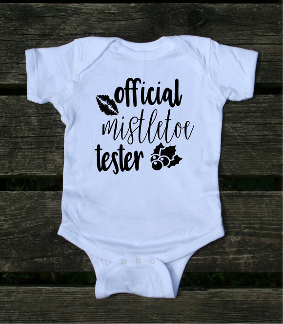 Official Mistletoe Tester Baby Bodysuit Cute Christmas Time Newborn Girl Boy Infant Clothing